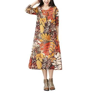 HWTOP Kleider für Damen Langarm Kleid Maxikleider Blumenkleid Drucken  Strandkleid Vintage Abendkleid Rundhals Elegant Baumwolle Leinen Böhmischen  Freizeit ... 4b5f174d1d