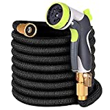 YEAHBEER 50 ft Garden Hose,Latex Core 3/4 Solid Brass Fittings,Durable Lightweight Expandable Water Hose,8-Mode High Pressure Spray Nozzles,Free Storage Bag