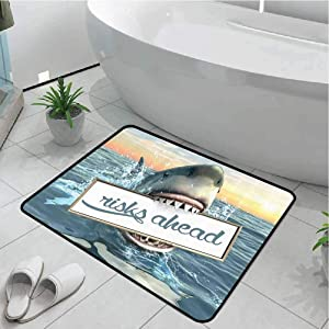 Carpet Kitchen Rugs Doormat Mat Living Room Non-Slip Artsy Great Shark,Sea Decorations Fun Quotes Ocean Animals Scary Accessories for Men Cave IdeasFunny,White Yellow Orange Gray Blue 32x40 Inch