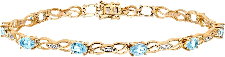 Naava - Pulsera para Mujer de Oro Amarillo 9K con Topacios Azules y Diamantes 5.46 ct 18 cm