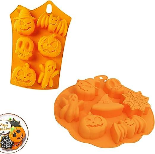 Oferta amazon: Halloween Silicona Molde, Molde de silicona de murciélago de calabaza, Se usa para hacer jabón, chocolate, galletas, pasteles, fondant. Resistencia a altas temperaturas (2 pcs , naranja)