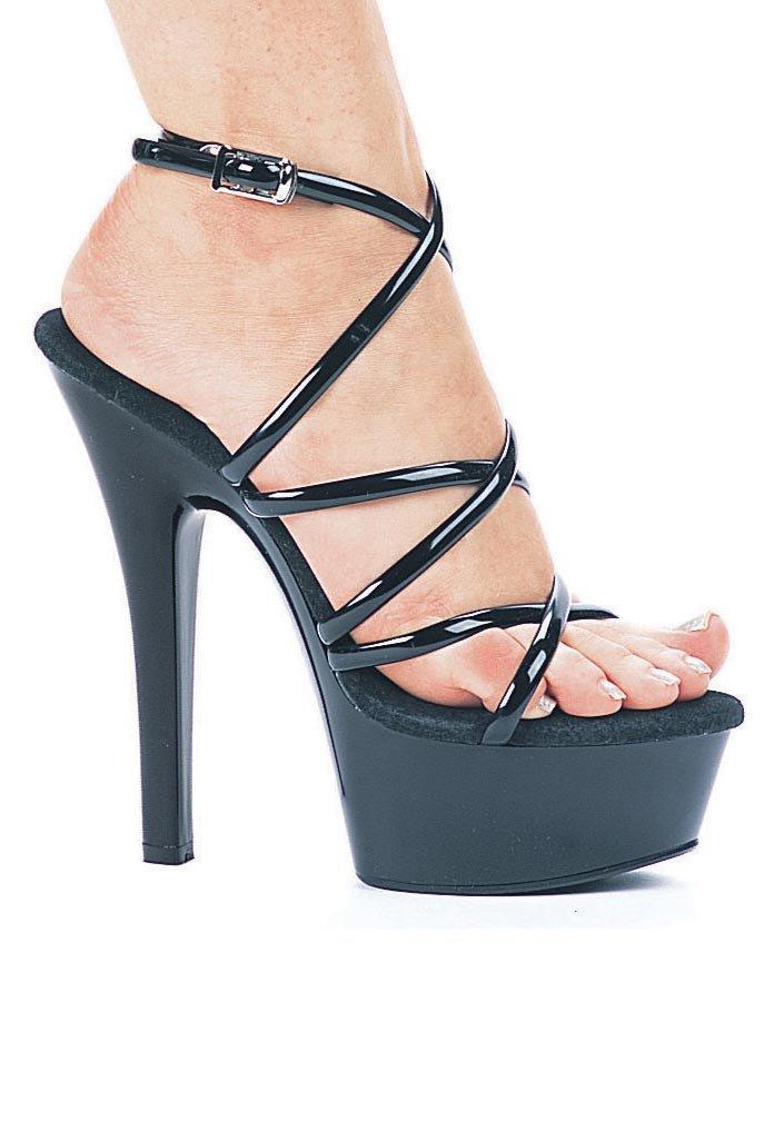 Ellie Shoes Women's 6 Inch Heel Strappy Sandal B00DGQM8NW 9 B(M) US|Black