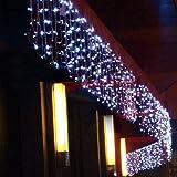 8 Modalità 208 Luci ghiacciolo LED 5M(W) x 1M(H) interno / esterno del partito di Natale Natale leggiadramente della stringa di cerimonia nuziale / hotel / festival / Ristoranti barriera fotoelettrica 8 modi per Luci di Natale Scelta Decorazione natalizia Capodanno Decorazioni 220V Colore Bianco