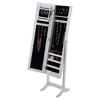 56u0026quot; White Large Floor Mirror Jewelry Cabinet Accessory Necklace  Organizer Storage Armoire Stand