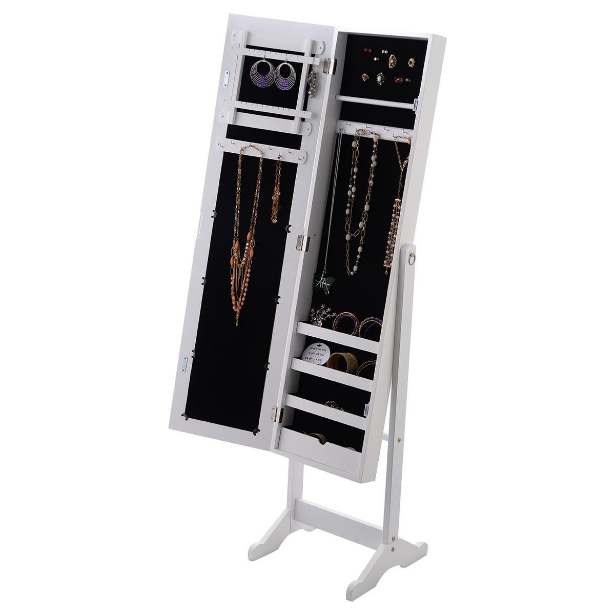 56'' White Large Floor Mirror Jewelry Cabinet Accessory Necklace Organizer Storage Armoire Stand