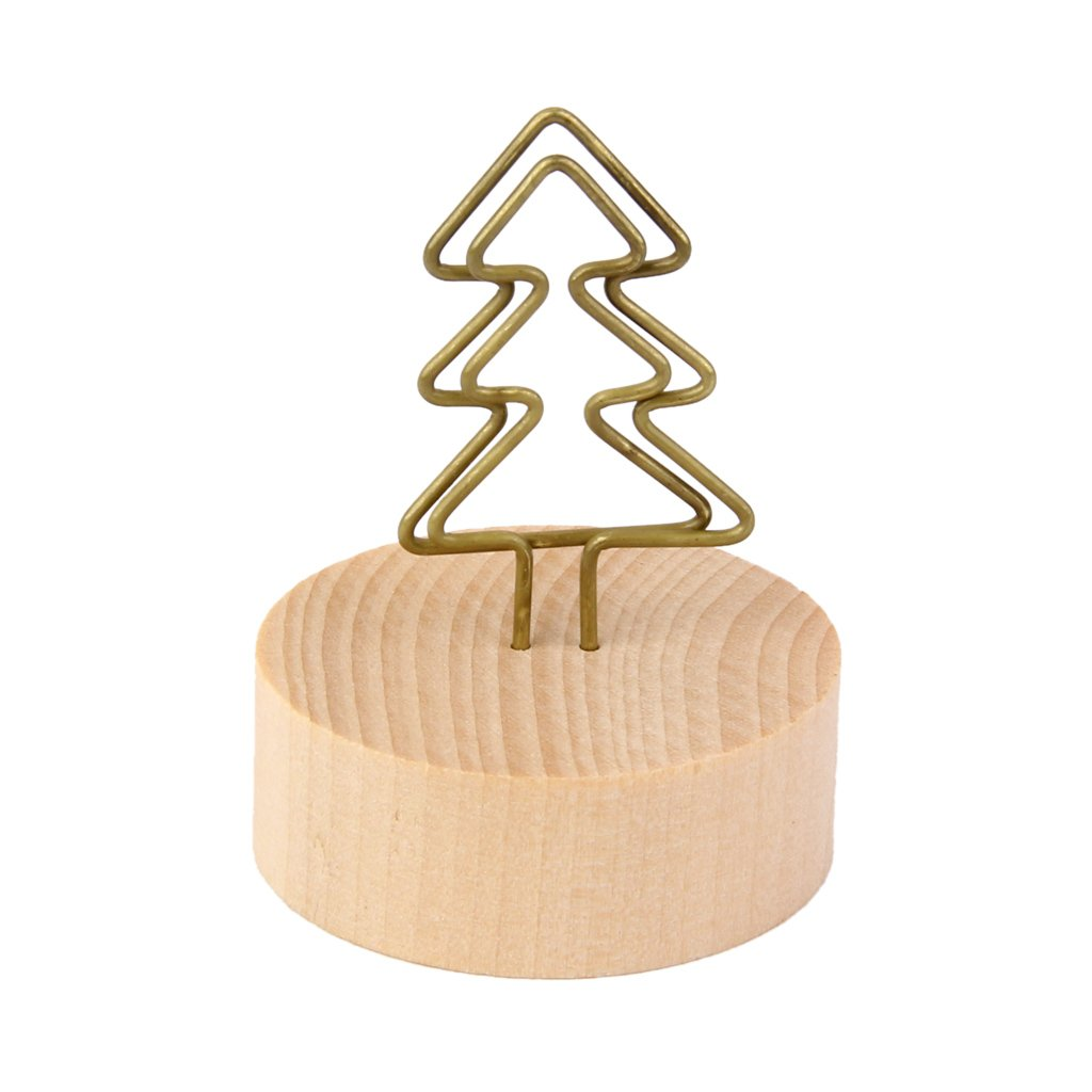 Tree Clip Photo Holder Picture Card Note Memo Display Wood Base Standing DIY Generic
