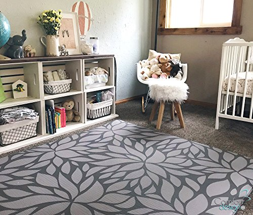 Botanical Tile - Premium Stylish Foam Floor Mat | Cushy-Soft & Thick | Waterproof, Easy-to-Clean, Hypoallergenic, Non-Toxic, Pet-Friendly, Portable | Baby Play Mat, Yoga Mat, Exercise Mat - Large Grey Botanical Garden