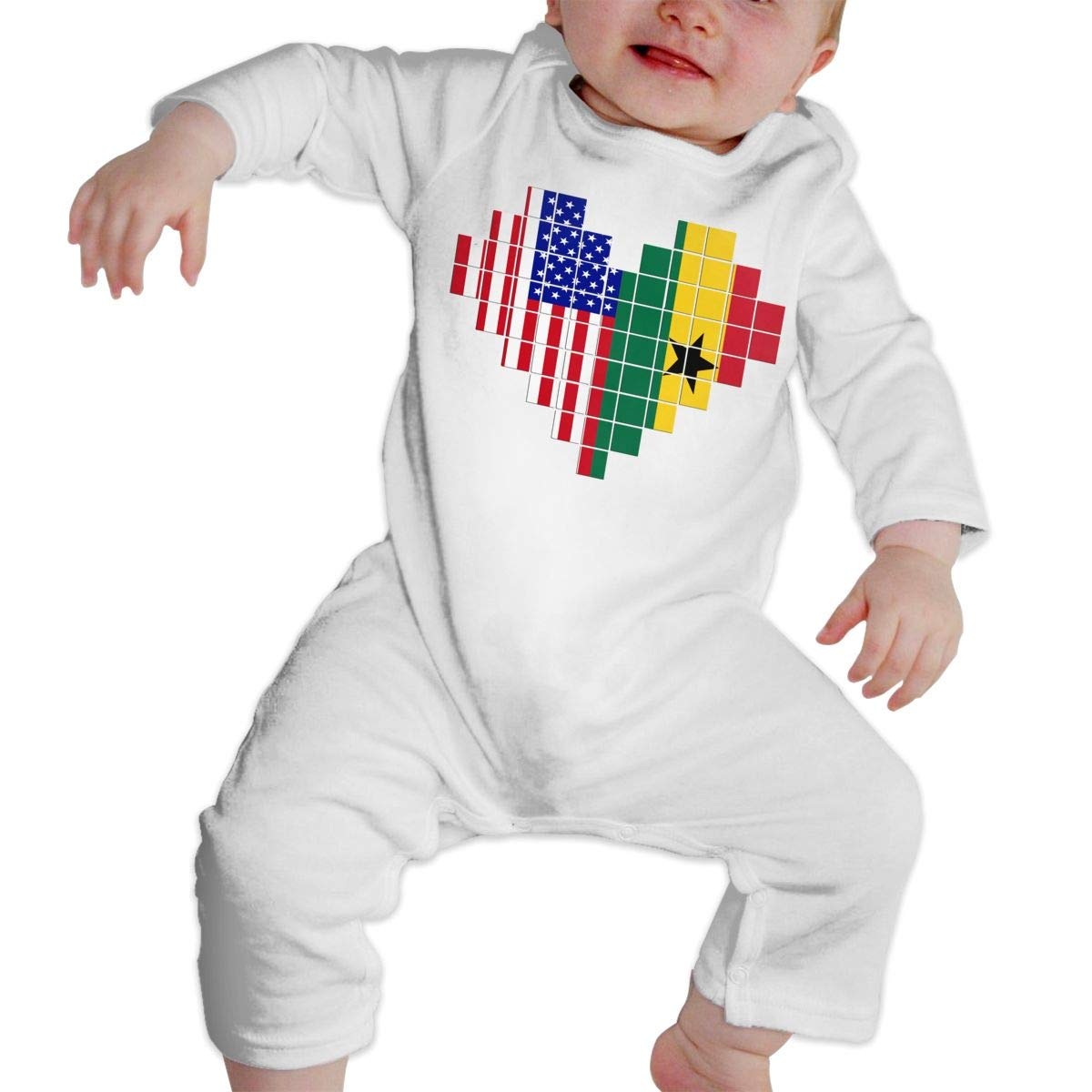 A1BY-5US Newborn Infant Baby Girls Boys Bodysuits American Flag Ghana Flag Puzzle Heart Cotton Long Sleeve One-Piece Coverall