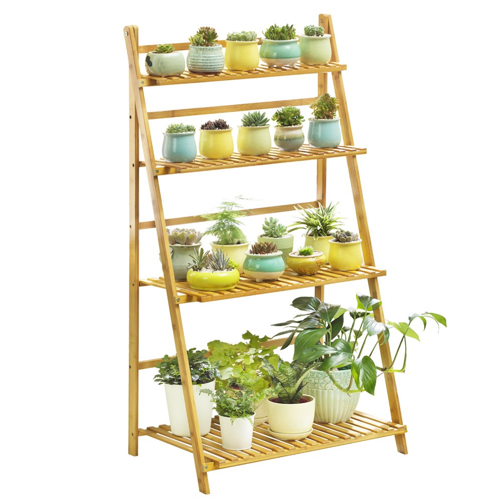 Bamboo 4-Tier Plant Stand Planter Shelves Flower Pot Organizer Rack Folding Display Shelving Plants Shelf Unit Holder by COPREE
