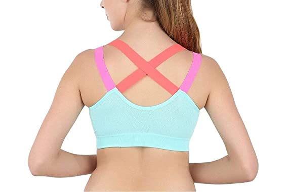 e41c7221f2c59 Ritu-Creation Women s Padded Full Coverage Quick Dry Padded Shockproof  Cross Back Sports Bra with