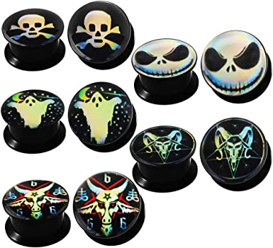 TIANCI FBYJS 5 Pairs Skull Acrylic Ear Gauges Plugs and Tunnels Ear Stretcher Expander Double Flared Screw Plug Piecing