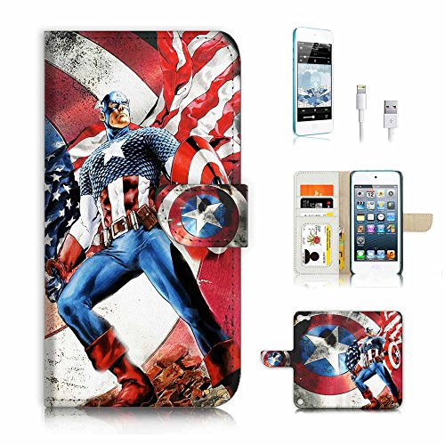 ( For ipod 5, itouch 5, touch 5 ) Flip Wallet Case Cover & Screen Protector & Charging Cable Bundle! A4184 Captain America