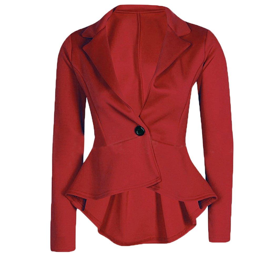 Cekaso Women's Long Sleeve Blazer Single Button Front Plain Peplum Frill Blazer Coat, Red, USsizeL=TagsizeXXXL