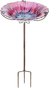 VCUTEKA Outdoor Birdath Glass Bird Bath Garden Bird Feeder with Metal Stake (R-Pink)