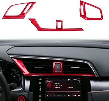 Red ABS Car Air Outlet Vent Frame Cover Trim Frame Interior Decals Sticker For Honda 10th Gen Civic 2016 2017 2018 2019 2020