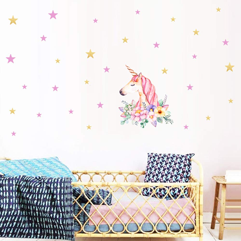 Unicorn Wall Decals Unicorn Wall Sticker Boys Girls Nursery Wall Decor with Angel Flower Stars Moons Dots Fairytale Decals for Girls Bedroom Decor Nursery Room Home Decor Xplanet