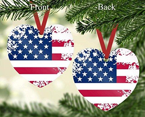 Americana Heart Shaped American Flag Ornament