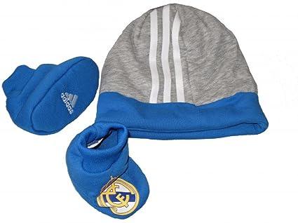 adidas Real Madrid Gris Azul Sombrero Para Niños Fútbol Set de regalo en caja