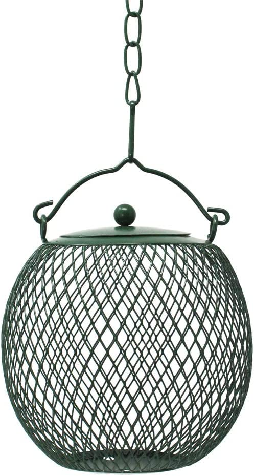 Hanging Mesh Ball Bird Feeder, Green, Durable Metal, Rust & UV Resistant, Outdoor Wild Bird Un-shelled Peanut Feeder Sunflower Seed Ball