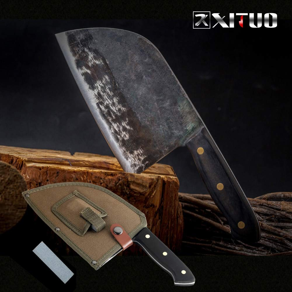 Best Quality Kitchen tchen Knives Full Tang Chef Knife Handmade High carbon Clad Steel Kitchen Knives Cleaver Filleting Slicing Broad Butcher knife by Tini
