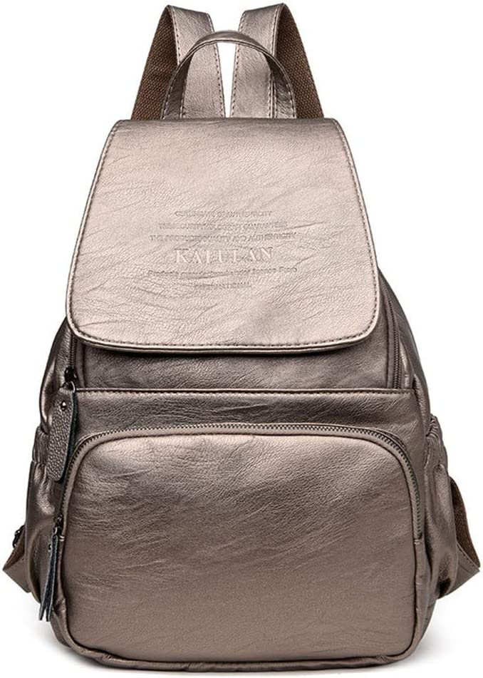 Bronze Backpack Korean version of the wild lady simple bag soft leather backpack