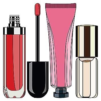 Pegatina de pared Salón Pegatina de Belleza Brillo de labios crema y esmalte de uñas Motivo