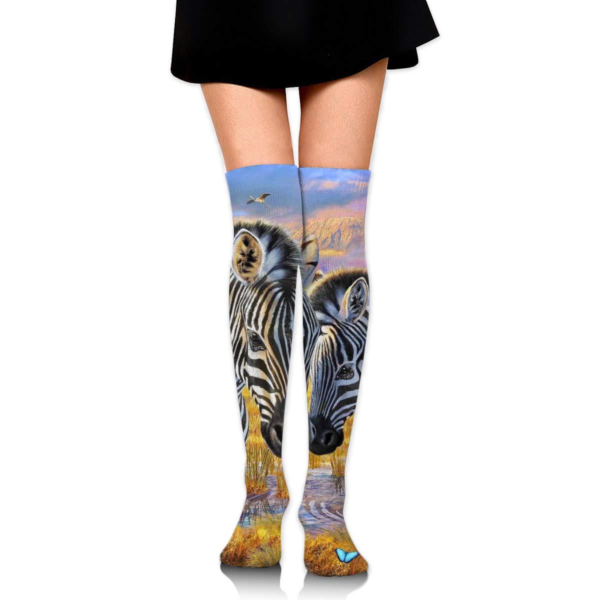 Kjaoi Girl Skirt Socks Uniform Wild Zebra Women Tube Socks Compression Socks
