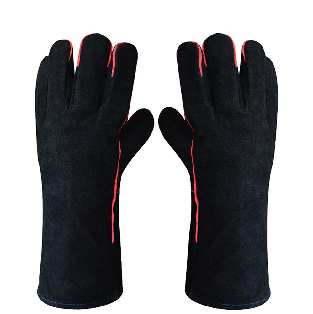 Welding work gloves lengthening double canvas wear resistance non-slip insulation anti-splashing labor protection protective gloves by LIXIANG