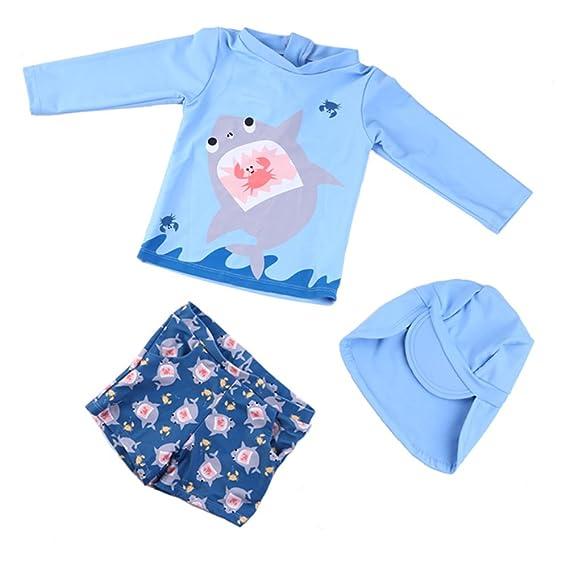 Baby Boys Kids 3-Pieces Shark Rashguard Swimsuit Long Sleeve Sun Protection Swimwear