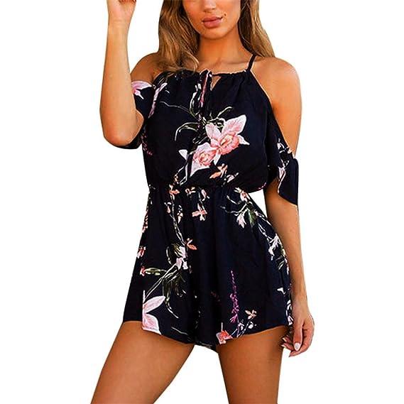 1e3086f9531 Btruely Jumpsuit Damen Kurz Sommer Elegant Blumen Floral Overall Trägerlos  Klied Playsuit Chiffon Overall Romper Kurz