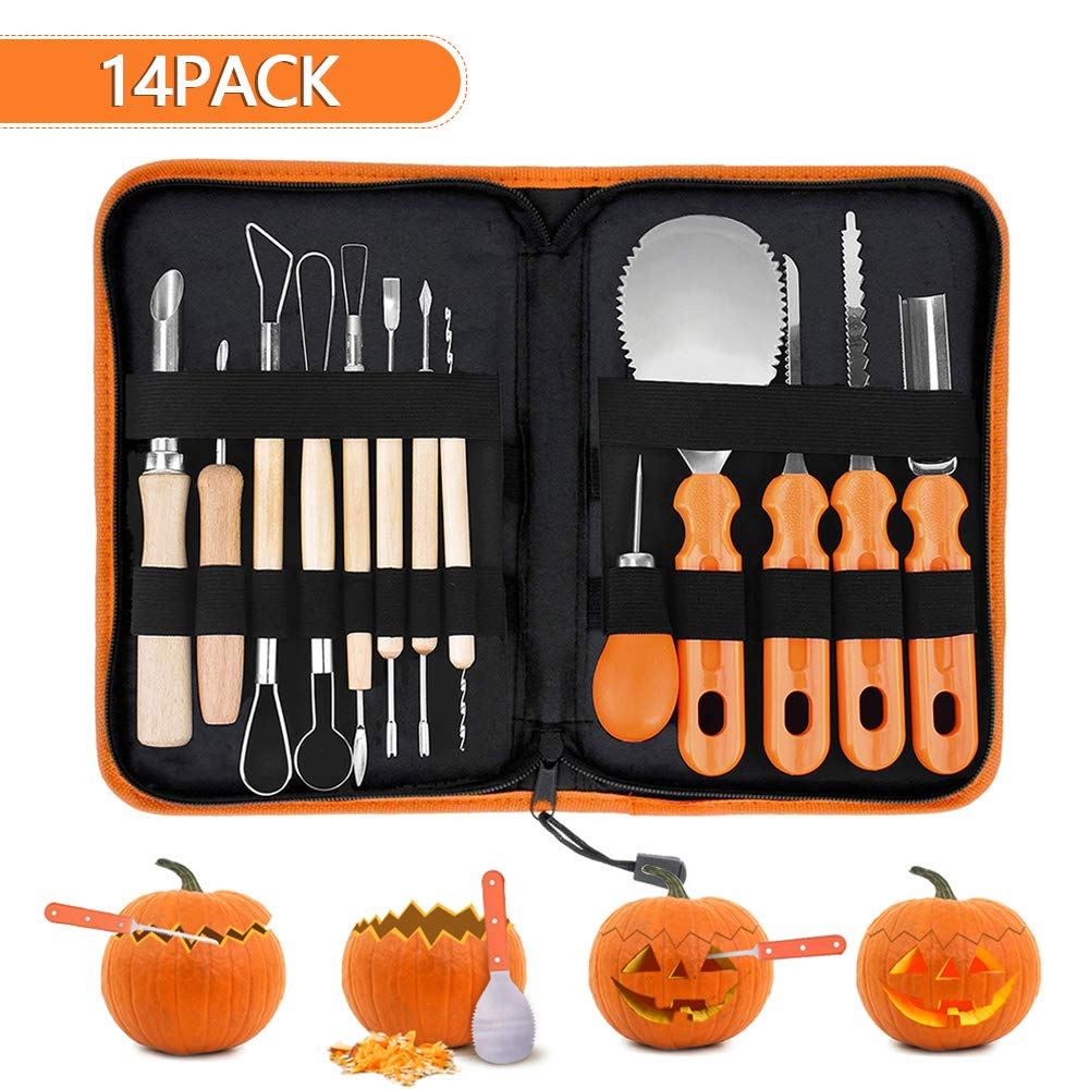 GUSTYLE Halloween Pumpkin Carving Kit,14 Pieces Professional Stainless Steel Reusable Pumpkin Carving Tools Kit for Halloween Decoration,Easily Sculpting Jack-O'-Lanterns for kids and Adults by GUSTYLE