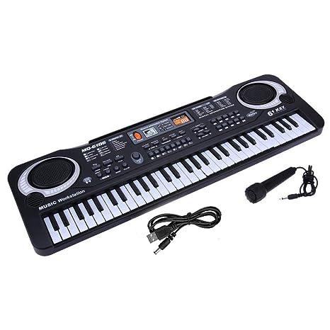 leegoal Piano con Teclado Electrónico de 61 Teclas, Kids Piano Instrumento Musical para Niñas de