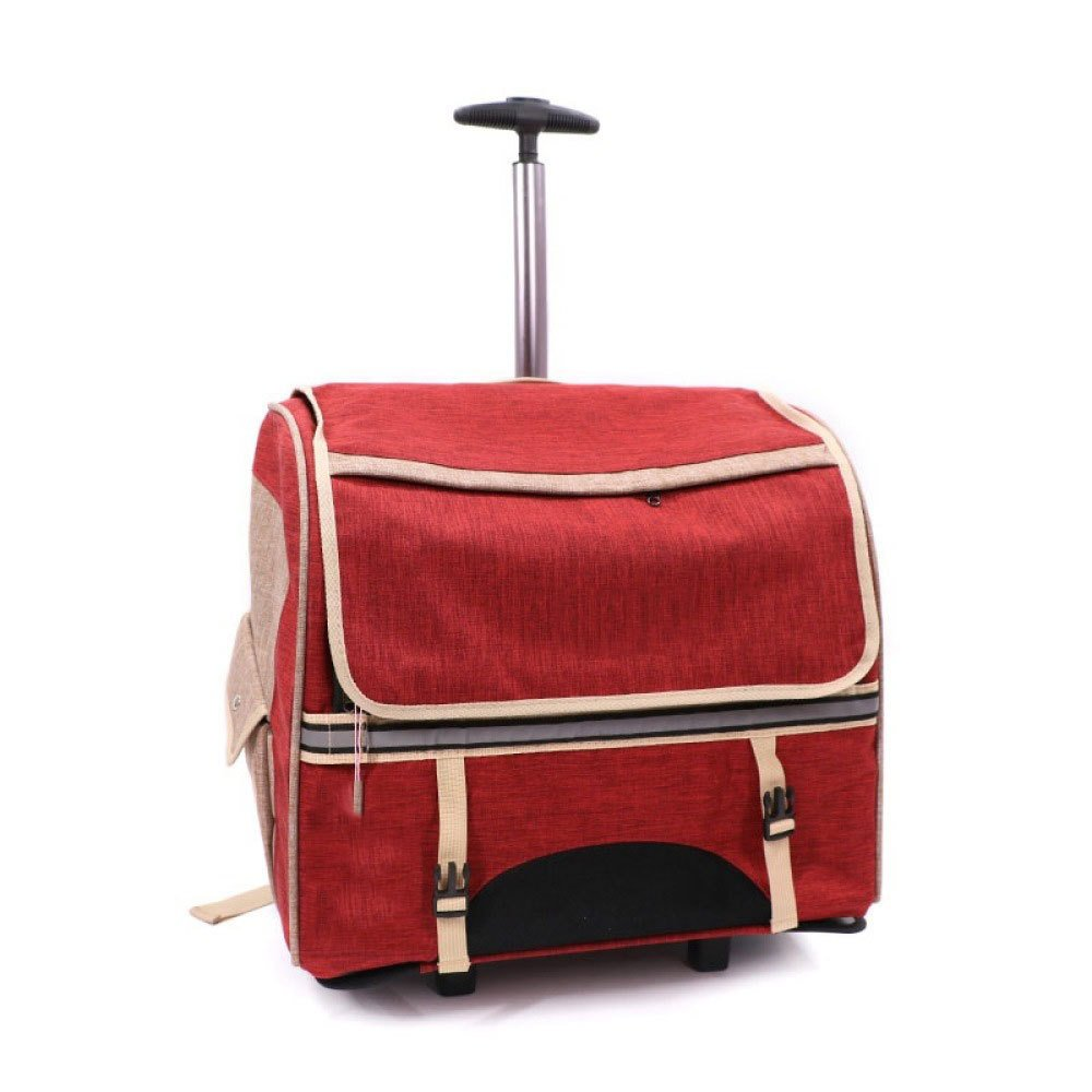 Red Pet Trolley Cases Cats and Dogs Out Portable Backpacks Portable Cage Travel Boxes (color   Red)