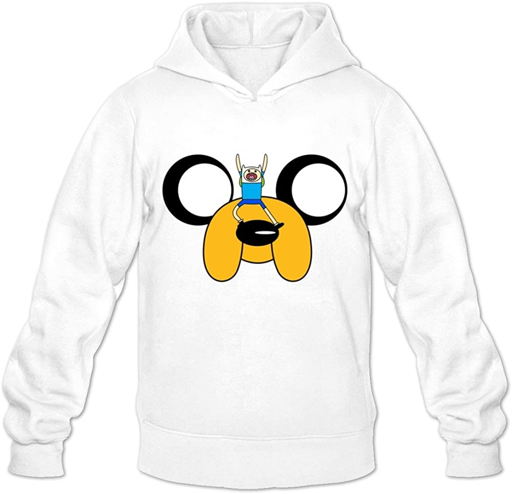 Buluew Men's 3D Adventure Time Jake And Finn Hoodies Sweatshirt Size US White