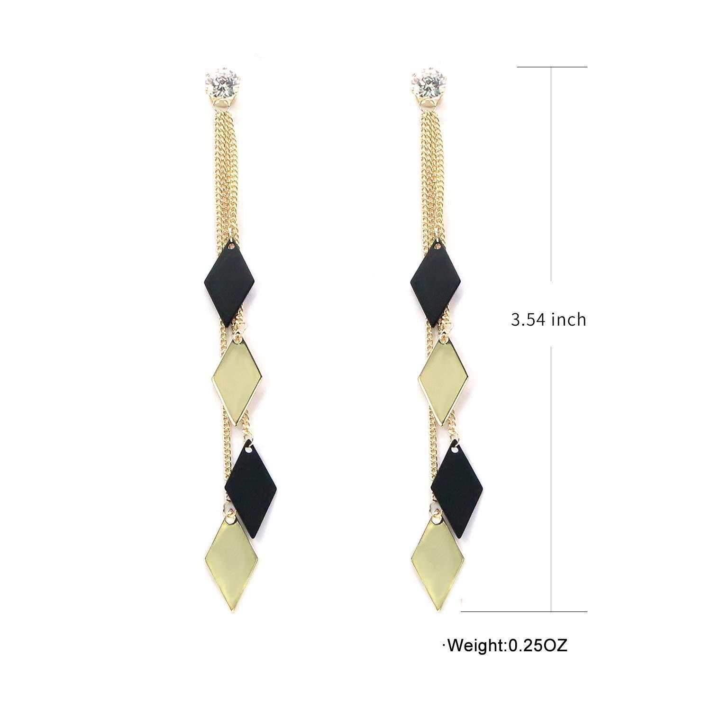 HooSeen Drop Dangle Earrings 925 Sterling Silver Brass Hypoallergenic Fashion for Women Girls 1 pair