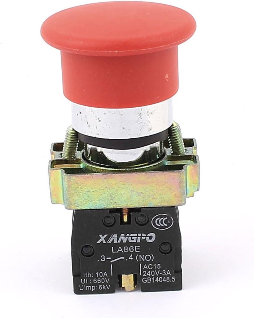 uxcell AC 400V 10 Amp Red Mushroom Head 4-Terminal 1NC 1NO Emergency Push Button Switch