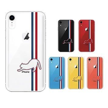 4c509ed132 Apple iPhone XR スマホ ケース カバー アイフォンXR iPhoneXR トリコロールカラー2 猫 シルエット 青 白