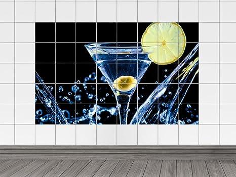 Piastrelle adesivo piastrelle immagine vetro con acqua e limone