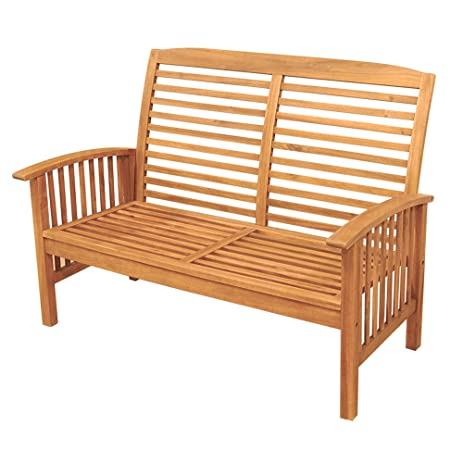 walker edison furniture company solid acacia wood patio love seat brown - Wooden Garden Furniture Love Seats