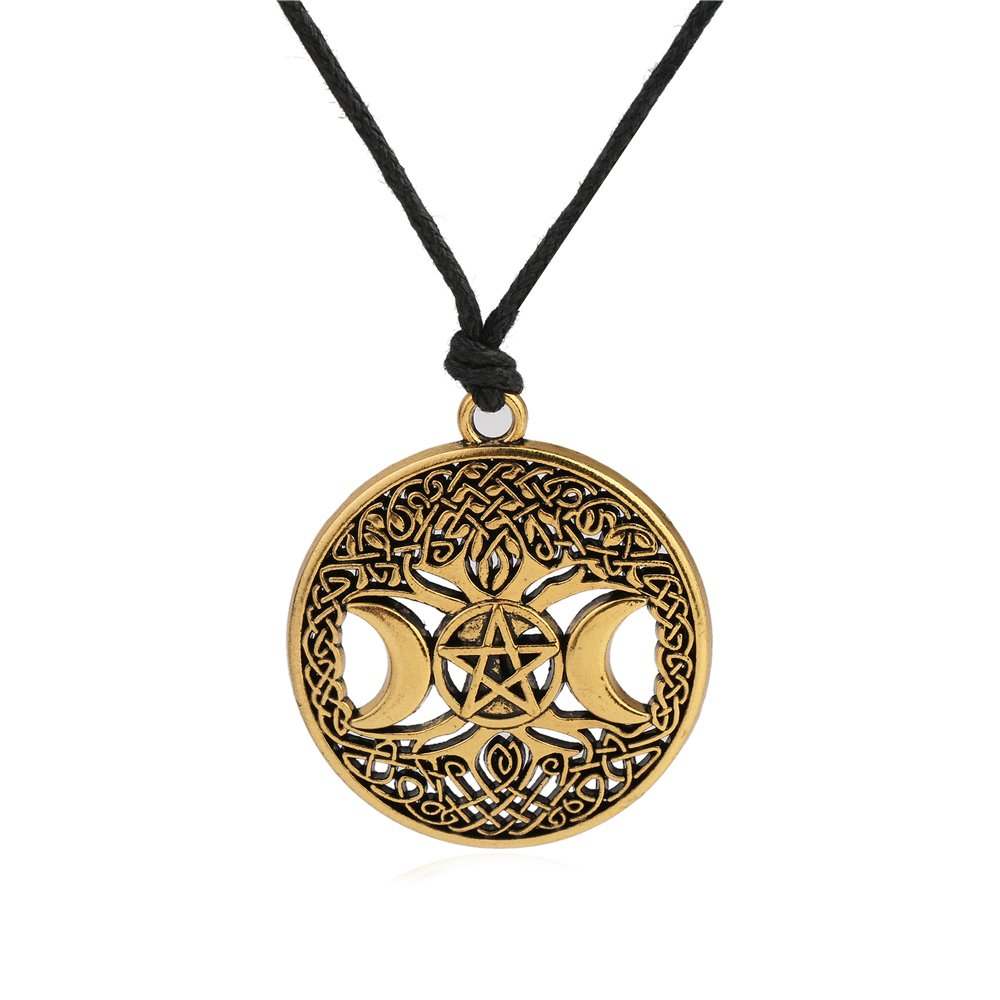 Wicca Triple Moon Göttin Pentagramm-verstellbar Seil Kette Anhänger Halskette Skyrim Legierung keine Angabe YI WU KE JI
