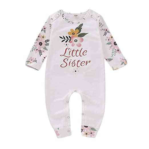 0ecf2192a4c Baby Girls Romper Long Sleeve Little Sister Floral Printed Fall One Piece  Outfit 3-6Months