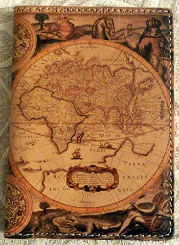 Antique Map Italian Leather Printed Passport Holder Case -