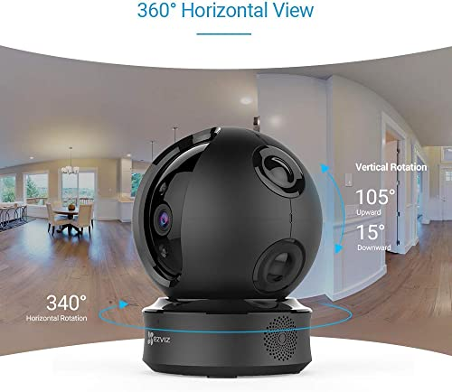 EZVIZ Pan Tilt Zoom Camera 1080p IP Dome Security Surveillance System Night Vision Auto Motion Tracking Pet Baby Monitor Two Way Audio Compatible with Alexa WiFi 2.4G Only BK CTQ6C