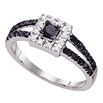 10kt White Gold Womens Princess Black Color Enhanced Diamond Princess  Bridal Wedding Engagement Ring 1  aa4a439c24