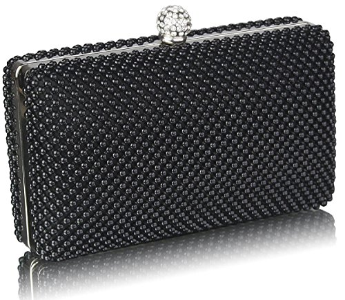 Clutch Bag DELIVERY UK FREE Evening Crystal Stunning Black Beaded UqAIIX
