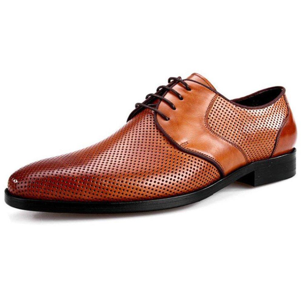 Zapatos De Vestir De Los Hombres Hueco Transpirable Negocios Casual Zapatos con Cordones 41 EU|Brown