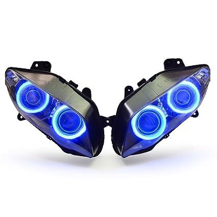 KT Headlight Assembly for Yamaha R1 2004-2006 V1 Blue Angel Eye