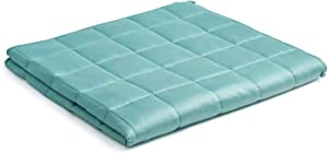 YnM Bamboo Weighted Blanket — Natural Bamboo Oeko-Tex Certified Material with Premium Glass Beads (Sea Grass, 80''x87'' 20lbs), 90~160lb Persons Sharing Use on Queen/King Bed | A Duvet Included