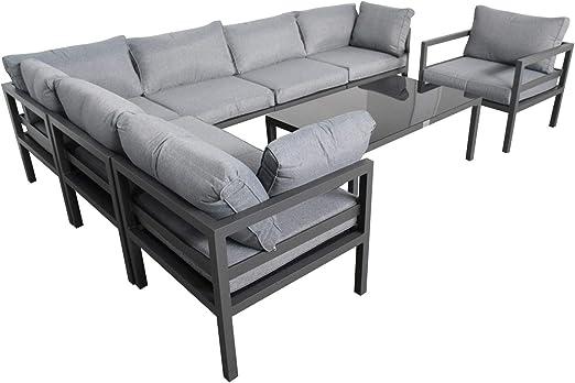 Jet-line XXL - Conjunto de Muebles de jardín Kreta para Exteriores, de Aluminio: Amazon.es: Jardín