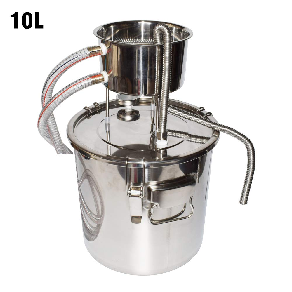 DIY Home Distiller Moonshine Still Stainless Boiler Thermometer Wine Spirits Essential Oil Water Brewing Kit (10L)